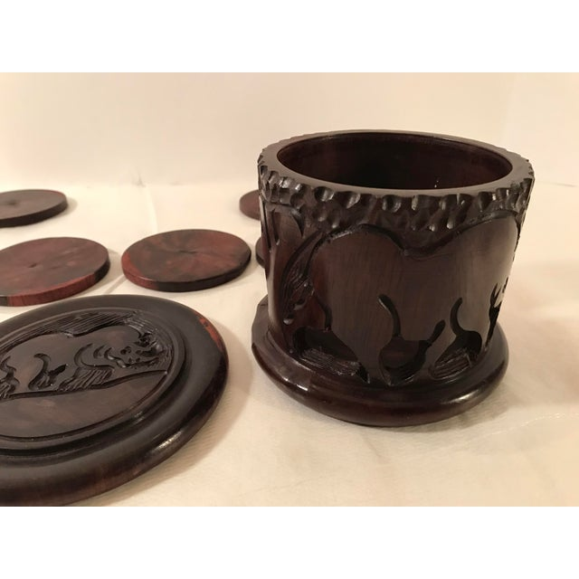 20th Century Safari Wooden Carved Rhino Coaster Set - 8 Pieces For Sale - Image 9 of 13