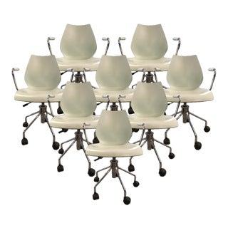 Mid-Century Modern Kartell Maui Adjustable Chrome Desk Chairs - Set of 8