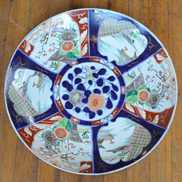 Blue 19th Century Paneled Japanese Imari Charger For Sale - Image 8 of 10