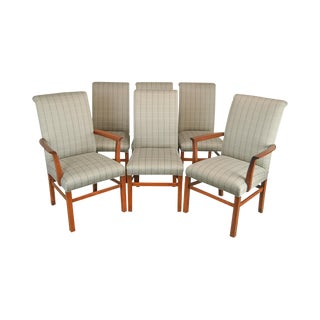 Stickley 21st Century Collection Set of 6 Cherry Upholstered Dining Chairs For Sale