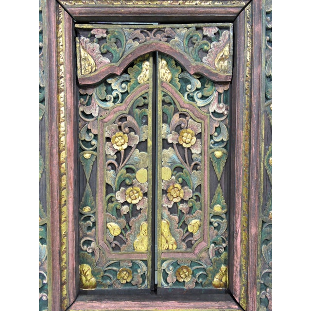 Anglo-Indian Vintage Hand Carved Floral Indian Window Frame or Wall Panel For Sale - Image 3 of 10