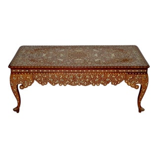 Early to Mid 20th Century Anglo Indian Inlay Coffee Table For Sale
