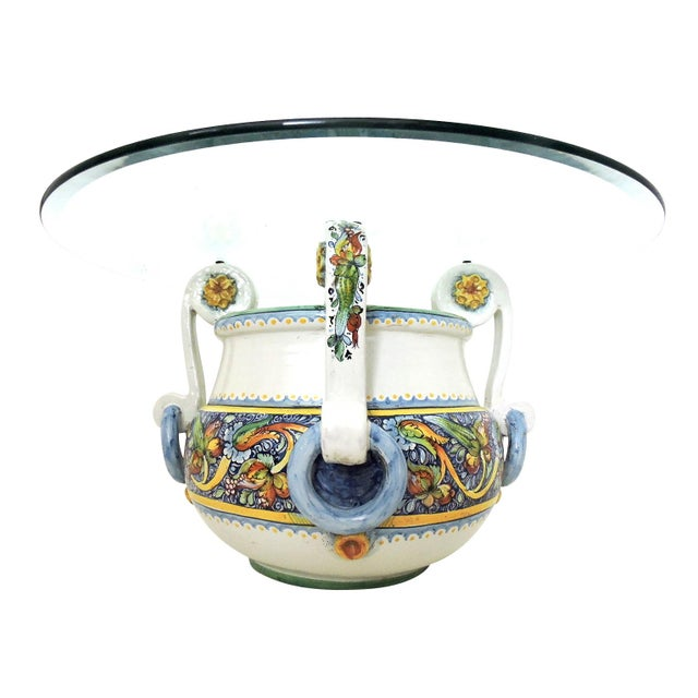 Colourful Italian/Sicilian hand-painted jardiniere/planter from the famous Caltagirone region (Sicily) with four 'handles'...