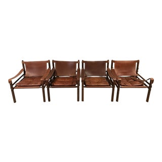 1960s Vintage Arne Norrell Sirocco Safari Chairs - Set of 4 For Sale