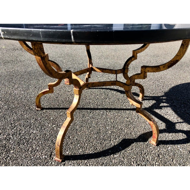1960s Vintage French Hollywood Regency Gilt Wrought Iron Marble Top Coffee Table For Sale - Image 11 of 12