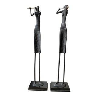 1960s Cast Iron Modernist Sculptures - a Pair For Sale