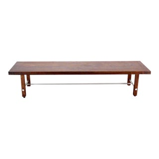 Long Solid Walnut-Top Coffee Table or Bench For Sale