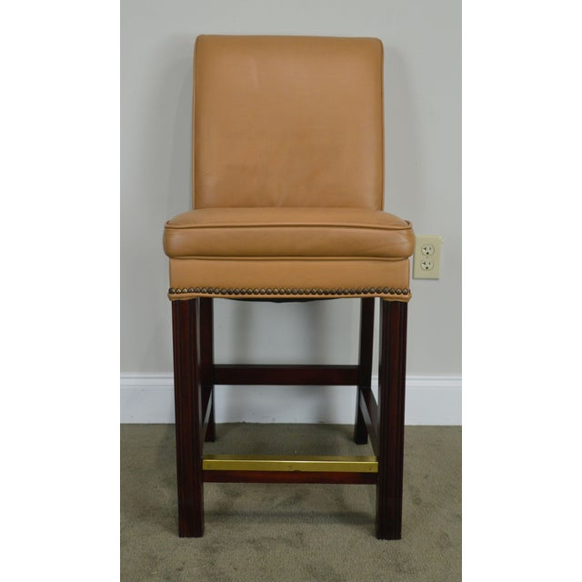 Fairfield Set 4 Tan Leather Bar Stools For Sale - Image 11 of 12