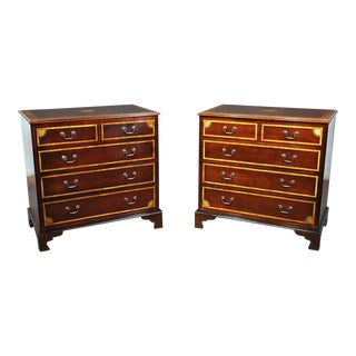 Pair of Georgian Style Inlaid Mahogany Commodes For Sale