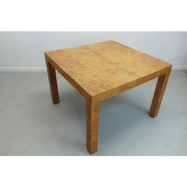 Mid-Century Modern Mid Century Modern Milo Baughman Thayer Coggin Olive Burlwood Parsons Dining Table With 2 Leafs For Sale - Image 3 of 11