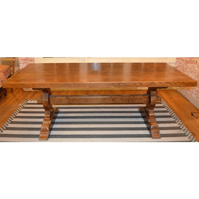 French Country French Country Trestle Farm Table For Sale - Image 3 of 10