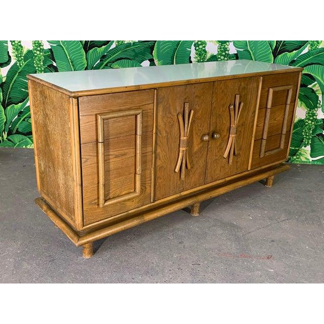 Mid-Century Modern Polynesian Tiki Style Rattan Dresser For Sale - Image 3 of 11