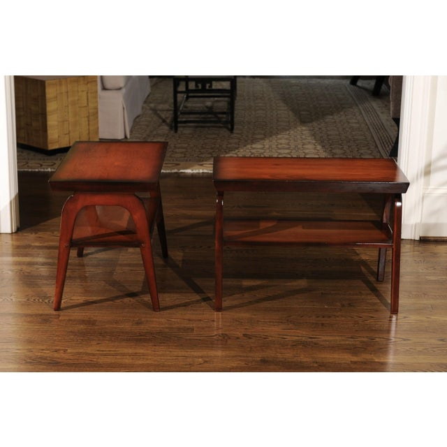 Rare Restored Pair of End Tables by John Wisner for Ficks Reed, Circa 1954 For Sale - Image 10 of 13
