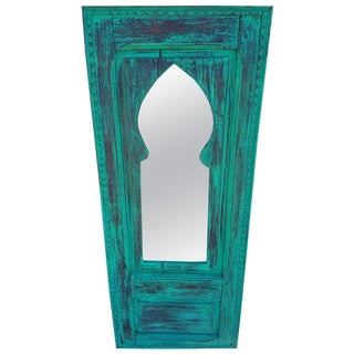 Moroccan White Wash Repurposed Wooden Frame Mirror For Sale