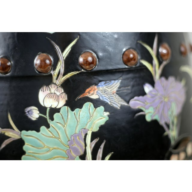 Black Vintage Black Garden Stool With Cranes and Lotuses For Sale - Image 8 of 12