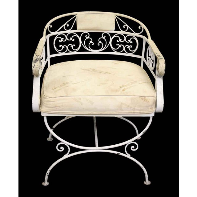 White White Metal Cushioned Patio Chair For Sale - Image 8 of 8