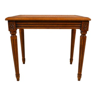 French Louis XVI Walnut and Cane Bench For Sale