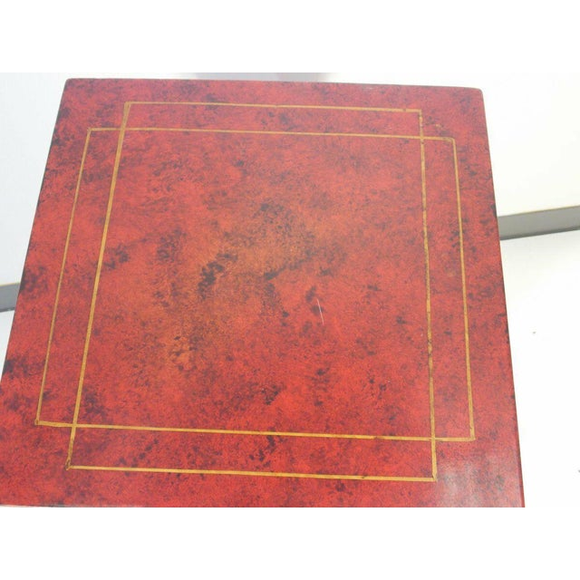 1970's Vintage Red Asian Style Pedestal For Sale - Image 10 of 13