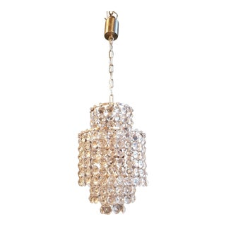 Fine Silver Modern Art Deco Chandelier Crystal Lustre Ceiling Lamp Hall Antique For Sale