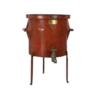 1860 French Persimmon Painted Metal Wine Making Barrel For Sale