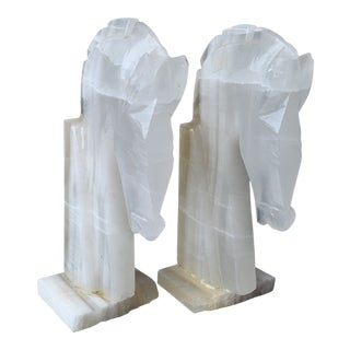 1970s Hollywood Regency Selenite Horse Head Bookends - a Pair For Sale