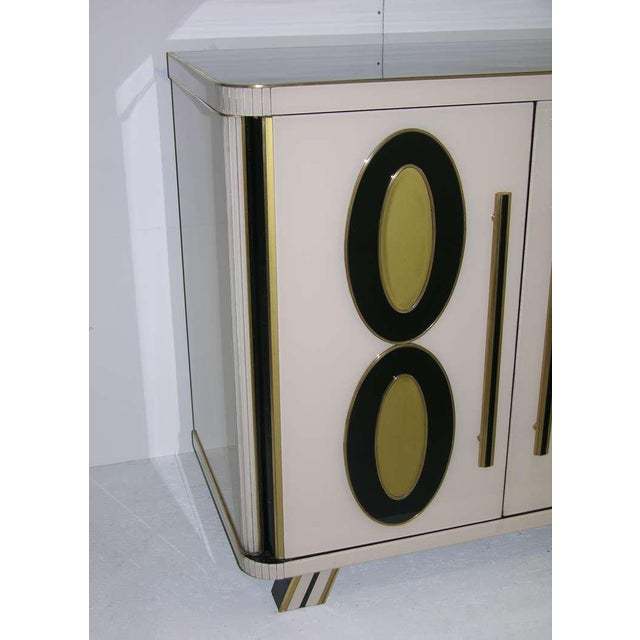 Black 1970s Italian Art Deco Gold Black and White Cabinets or Sideboards - a Pair For Sale - Image 8 of 11