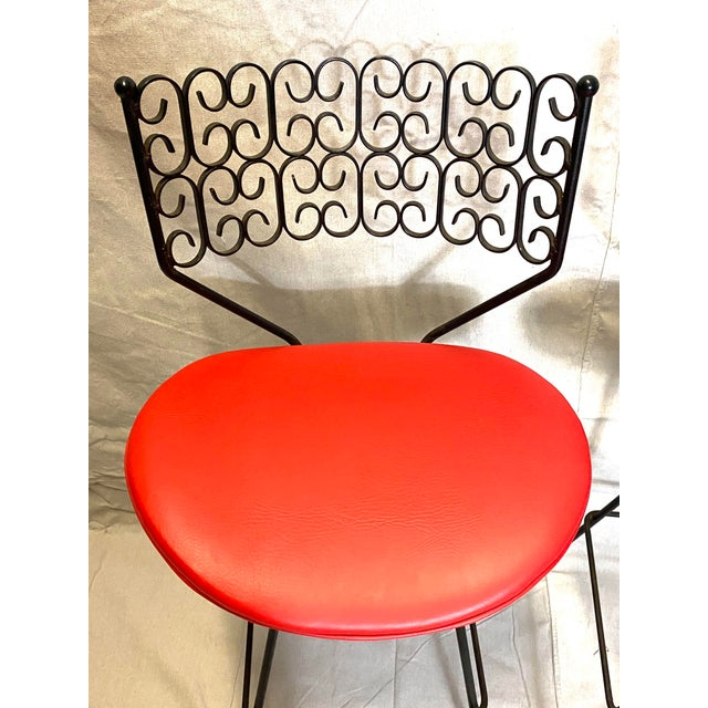 Wow Arthur Umanoff for Grenada Collection Iron Swivel Counter Bar Stools W/ Original Red Cushions For Sale In New York - Image 6 of 10