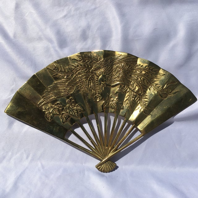 Vintage Brass Chinoiserie Wall Hanging Fan Art - Image 2 of 8