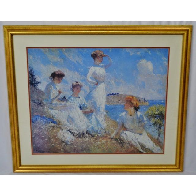Traditional Vintage Framed Frank Weston Benson Summer Seascape Print For Sale - Image 3 of 11