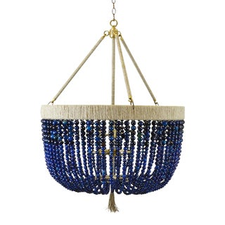 "Malibu 30"" Chandelier - Navy Agate / Brass / Natural For Sale"