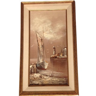 Mid-Century Nautical Oil Painting For Sale