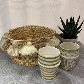Moroccan Cuppuccino Tassel Small Basket Preview