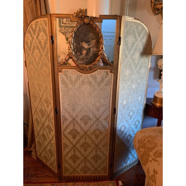 Wood French Giltwood Mirrored and Silk Brocade3-Panel Folding Screen For Sale - Image 7 of 7