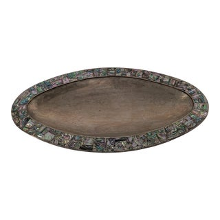 1950s Vintage Los Castillo Abalone Inlaid Silver Tray For Sale