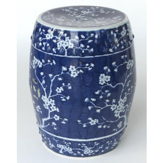 Chinese Blue & White Porcelain Garden Seat With Cherry Blossom Motif Preview