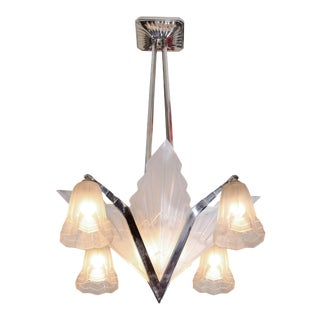 Art Deco French Nickel and Frosted Glass Chandelier by David Gueron for Degue For Sale