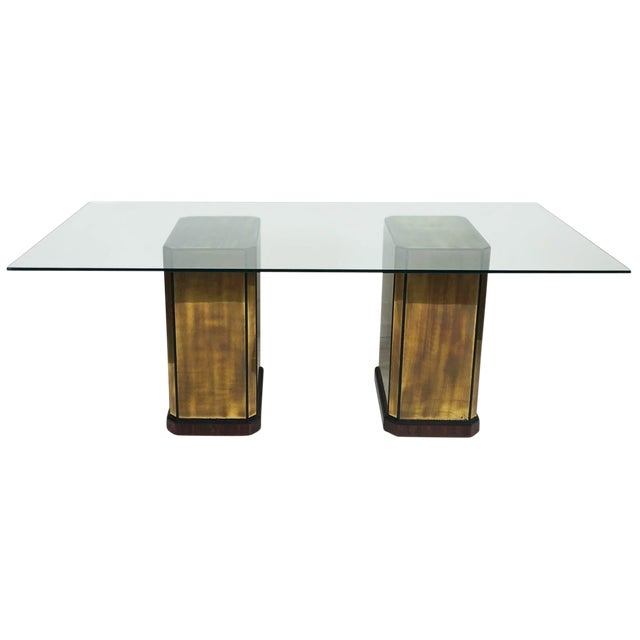 1960s Hollywood Regency Mastercraft Brass Dining Table For Sale
