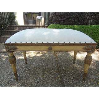 1920's Vintage Italian Neoclassical Style Upholstered Bench Preview
