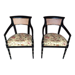 Asian Inspired Black Lacquer Arm Accent Chairs - a Pair