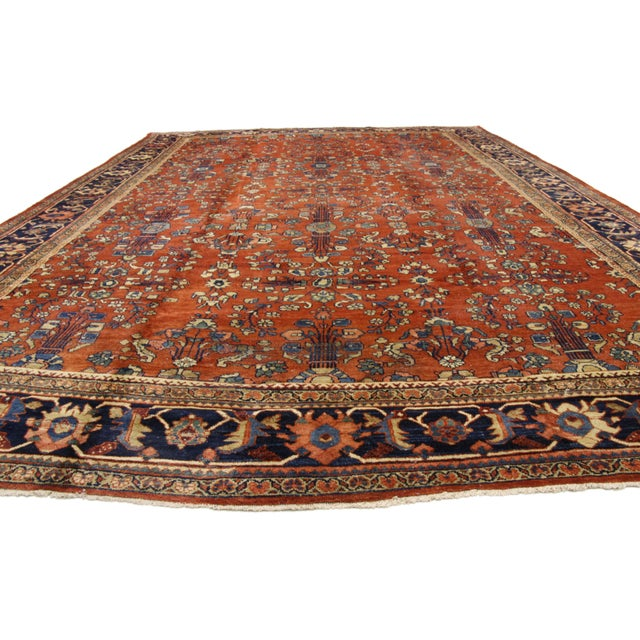 Arts & Crafts Antique Persian Mahal Palace Size Rug With Jacobean Style, 11'01 X 17'07 For Sale - Image 3 of 5