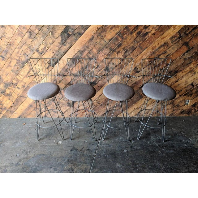 Metal Mid Century 1950's Atomic Barstools For Sale - Image 7 of 8
