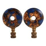 Image of Lapis Lazuli & Bronzite Lamp Finials - a Pair For Sale