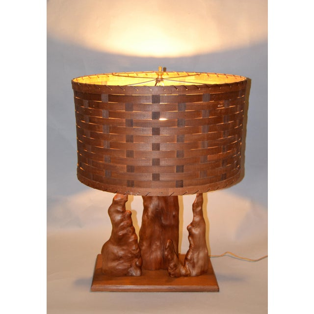 Brown Organic Modern Sculptural Driftwood Table Lamp & Woven Basket Shade on Walnut Base For Sale - Image 8 of 10