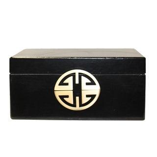 Oriental Round Hardware Black Rectangular Container Box Medium For Sale