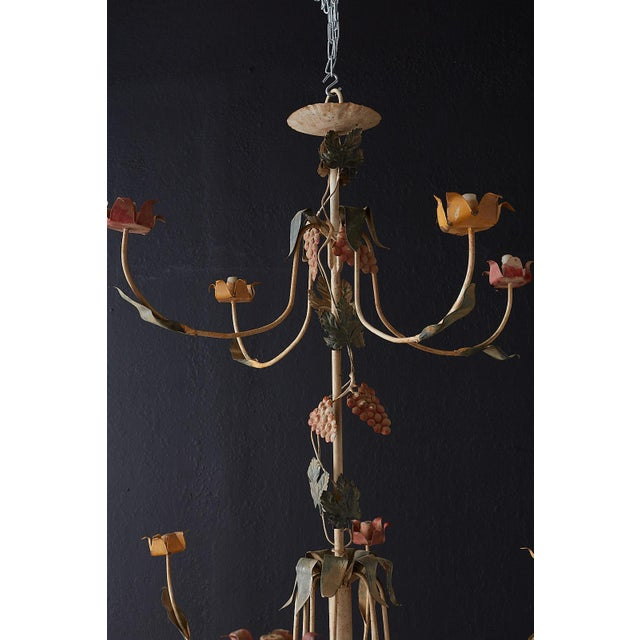 Rustic French Iron Twelve-Light Candle Chandelier For Sale - Image 12 of 13