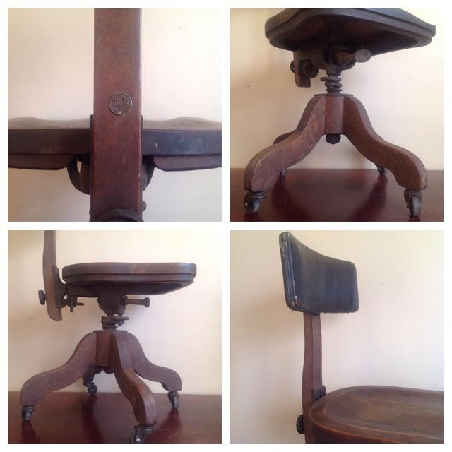 Early 1900s Sikes Wooden Office Swivel Chair - Image 6 of 7