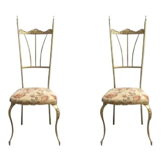 Pair Chiavari Brass Side Chairs For Sale