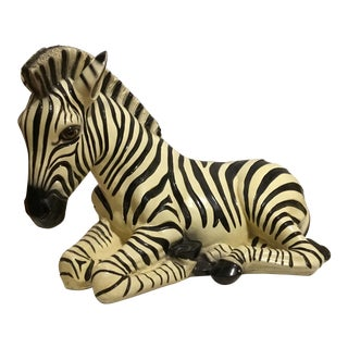 Large Italian Ceramic Zebra For Sale