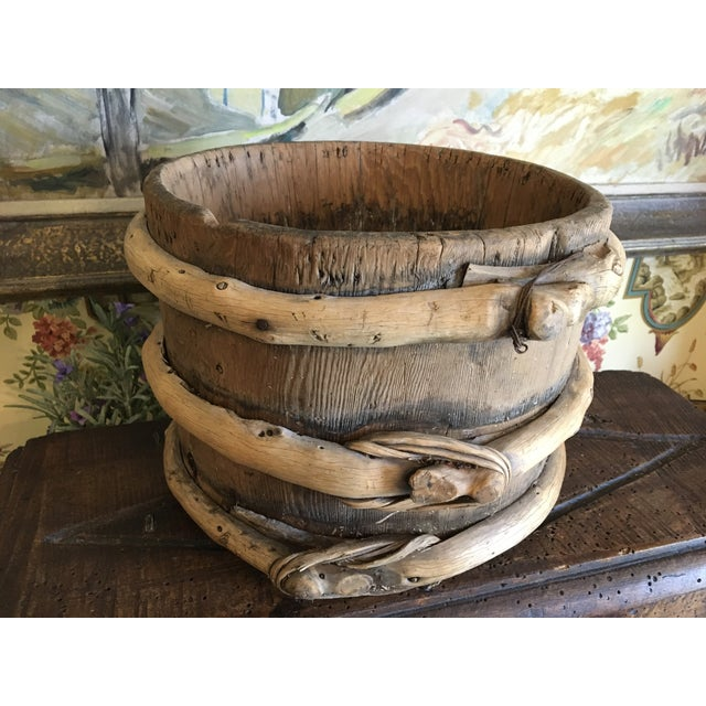 """Antique French Wooden Water Vessel Bucket Container. Uniquely made by hand. Found in France. Dimensions: 8"""" High 11"""" Total..."""