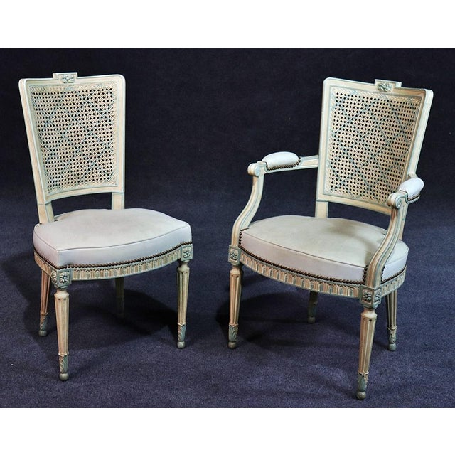 Wood Set of 8 French Louis XVI Style Caned Back Dining Chairs For Sale - Image 7 of 13
